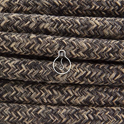Amarcords - Câble électrique textile couleur CANVAS MARRON, rond, lin, 5 mètres, à 2 brins 2x0,75 - Fil vintage en tissu coloré, pour lampes, lustres, appliques et abat-jours.