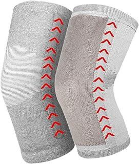 女性の膝のウール暖かい保護、冬アンチコールド膝の膝、サポート弾性快適なフィット通気性のないムッと、2個,グレー,M