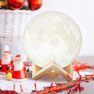 Uten Moon Light - 3D Printed Moon Lamp, Rechargeable LED Nightlight 3-8 Hours Light Duration Room Decoration for Any Festivals, Parties, etc - 15cm 5.9inch