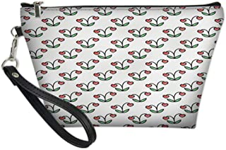 Women Travel Cosmetic Bag,Sketch Style Heart Shaped Berry Illustration Plant Garden Pattern Botany,Fashion Pencil Case Pouch Makeup Bags