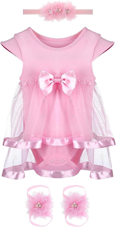 3PCS Set Baby Girl Romper Bodysuit Pink Dress Flower Headband Barefoot Sandals