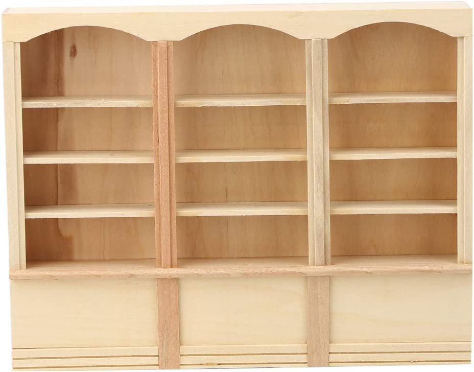Triple Bookcase Wood Color for Living Room for Study Room logozoe 1:12 Dollhouse Decoration Miniature Bookcase Mini Cabinet Dollhouse Furniture