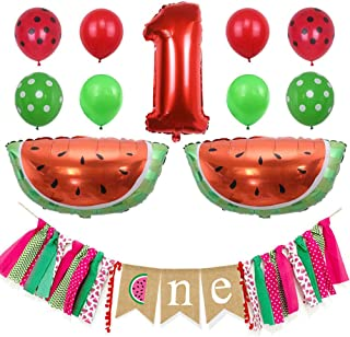 Hongkai Watermelon Baby Boy Girls 1st Birthday Party Decorations,One in Melon Best for Summer Picnic First Birthday Party Photo Props, Kids Banner Foil Balloon and Latex Balloons Supplies