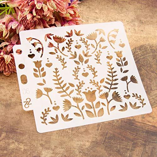 Yiwann Plantillas de bricolaje, diseño de flores de pájaro para pintar álbumes de recortes, tarjetas, pintura de aerógrafo, álbumes de recortes, manualidades, regalo reutilizable 86