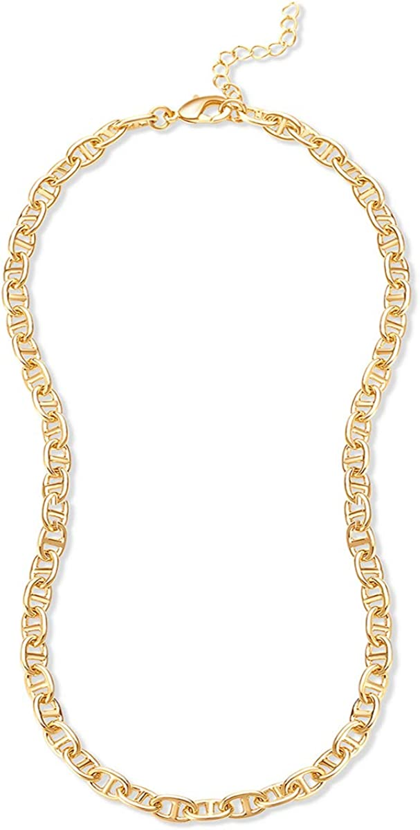 Hapuxt Gold Flat Mariner Necklace 14K Gold Plated Mariner Link Chain for Women