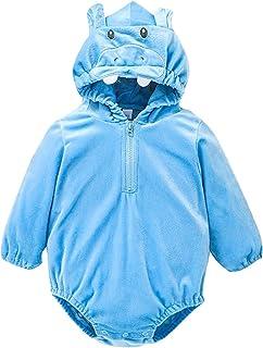 الوليد الطفل بنين بنات طويلة الأكمام الصوف هوديي رومبير ارتداءها الملابس الدافئة (Color : Blue, Size : 6M)