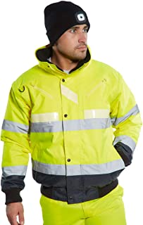 Portwest Glowtex 3in1 Bomber Jacket Hi Vis Visability Coat Safety Work Wear Protective ANSI 3