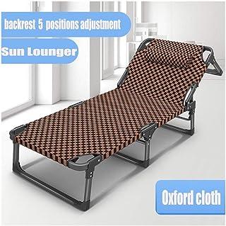 HOUMEL del Metal de Brown Tumbona Plegable portátil Tumbona 190 * 68 * 38 cm 200 kg Temp.Silla Respaldo 5 Ajuste de la p...
