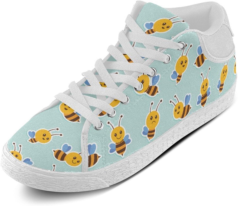 CERLYRUAN Cute Honeybee Beehive Pattern Canvas Chukka Canvas Women's shoes