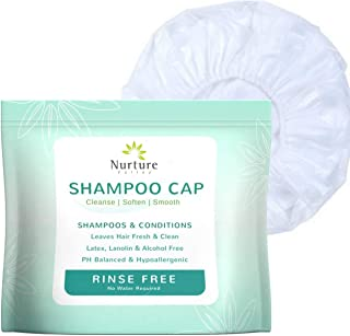No Rinse Shampoo Cap by Nurture (6-Pack) | Rinse Free Shower Cap That Shampoos & Conditions - PH Balanced & Hypoallergenic