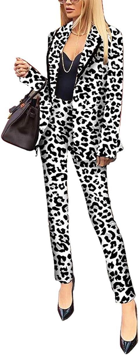Womens Two Piece Blazer Outfits Lapel Collar Long Sleeve Leopard Print Jackets Pants Elegant Business Suit