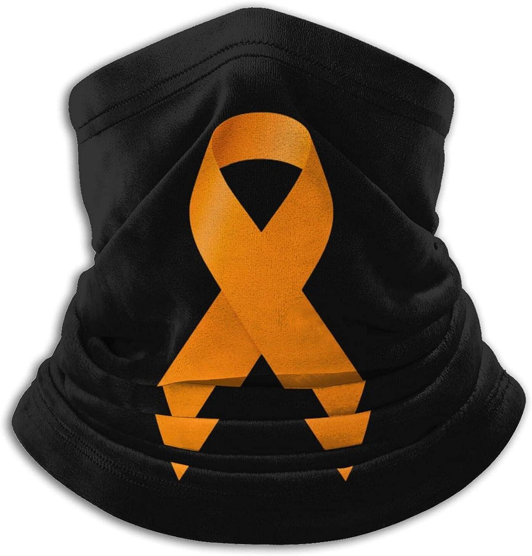 Leukemia awareness orange ribbon unisex winter neck gaiter face cover mask, windproof balaclava scarf for fishing, running & hiking