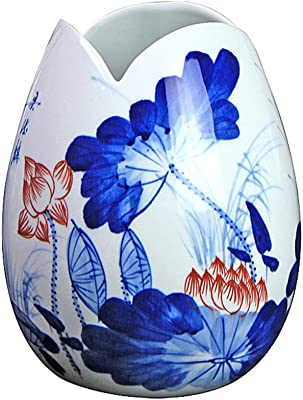 Ceramic vase,Chinese egg ceramic vase decorative flower tung chi floral blue & White vase for home decoration w5.5xH7.5Inch