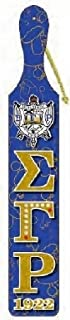 Cultural Exchange Sigma Gamma Rho Printed Crest Pattern Background Wood Paddle [Blue - 22