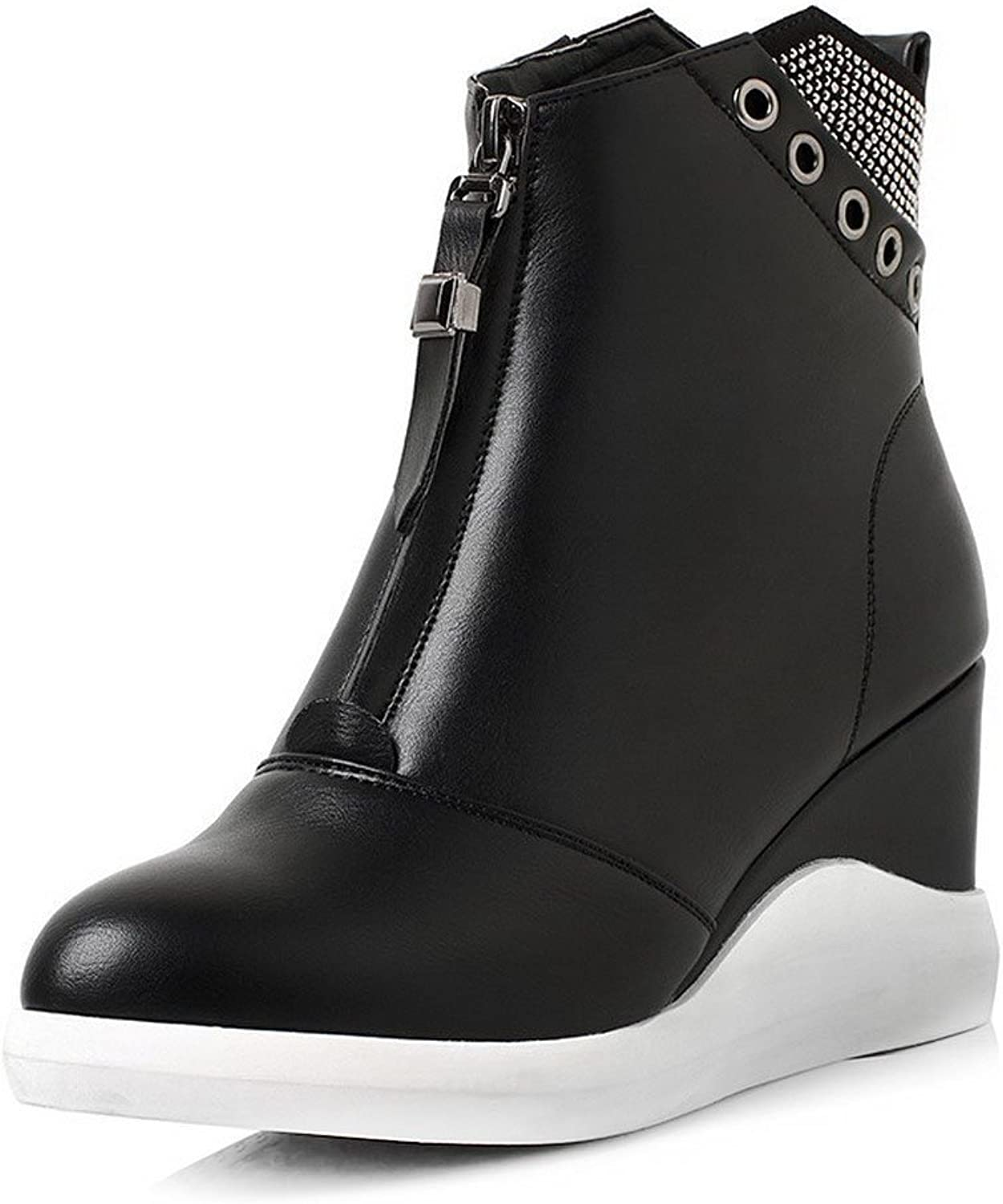 Laolaooo shoes Women's Round Closed Toe Low-top High Heels Solid PU Boots