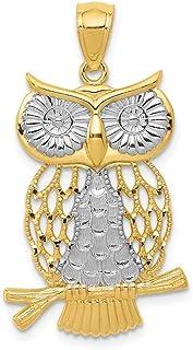 De poli or 14 carats d/écoupe JewelryWeb-Pendentif en forme de chouette