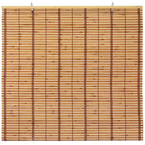 ORIENTAL Furniture Burnt Bamboo Cordless Window Shade - Two-Tone Honey 24' W