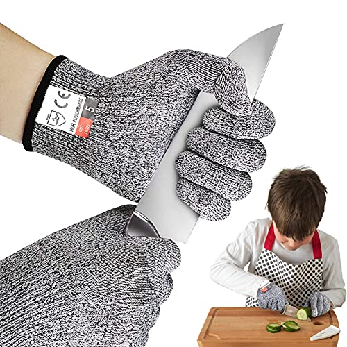 Huahuanghui resistentes a los cortes Guantes,guantes de trabajo niños,Seguridad Proteccion Guante para Cocina,resistentes a los cortes Guantes de tallar,guantes de jardinería niños (S)