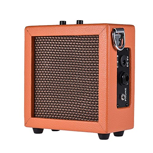 ammoon Guitar Bass Ukulele Amplifier Speaker Leather Edging High-Sensitivity 3 Watt 9-Volt with Volume Tone Contro (Orange)