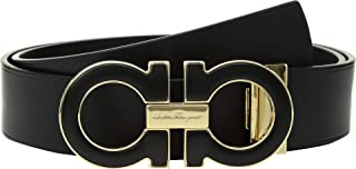 Salvatore Ferragamo Men's Adjustable Casual Double Gancini Nero 38