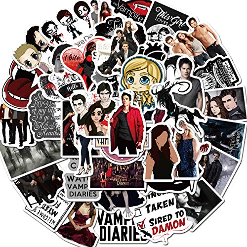 50Pcs The Vampire Diaries Stickers Decals for Hydro Flask Vinyl Waterproof Stickers for Laptop,Skateboard,Water Bottles,Computer,Phone (The Vampire Diaries)