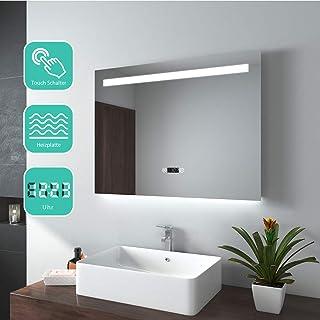 EMKE Espejo de Baño Espejo de baño Espejo LED Espejo de Pared con Interruptor Táctil+Antivaho+Reloj Digital,IP44,47W,Blanco Frío(80x60cm)
