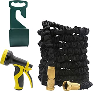 SCOPOW 50FT Garden Hose Expandable 3 Layer Latex Water Hose Flexible 3/4 Inch with All Brass Connectors & Shutoff Valve, 9 Pattern Spray Nozzle and Hook Hanger Holder