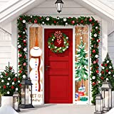 """Whaline Christmas Porch Sign Snowman Xmas Tree Hanging Banner Merry Christmas Door Sign for Holiday Home Indoor Outdoor Front Porch Wall Christmas Party Decoration, 12"""" x 72"""""""