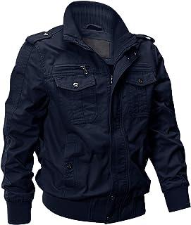 EKLENTSON Men's Cotton Lightweight Multi Pockets Zip Front Stand Collar Military Jackets Windbreaker