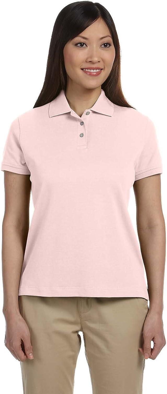 Devon & Jones Ladies' Solid Perfect Pima Interlock Polo, Pink, L