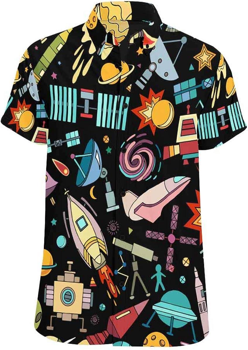 InterestPrint Short-Sleeve Outlet SALE Portland Mall Cartoon Space Ship Shirt Men for