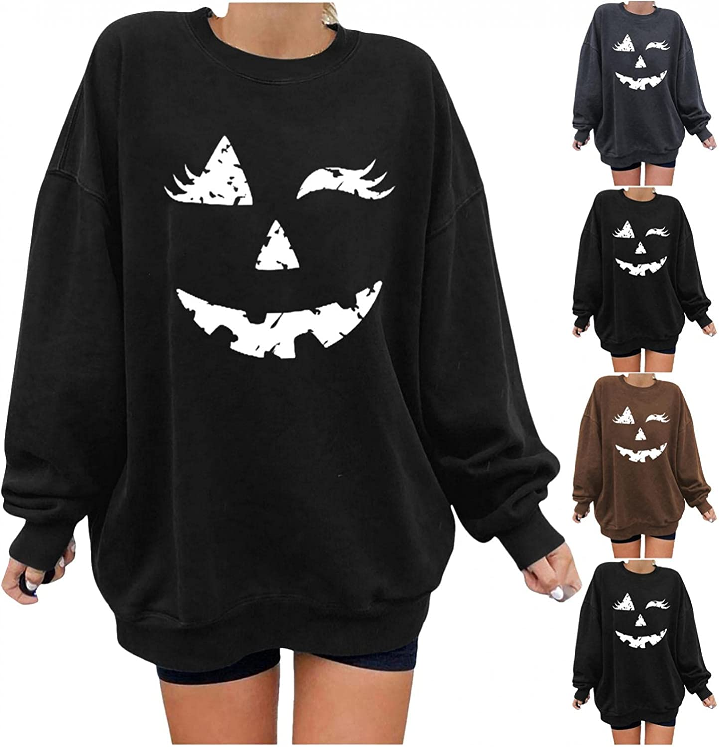 Women Limited time Los Angeles Mall cheap sale Halloween Pullover Tops Pumpkin Skeleton Casual Pl Printed