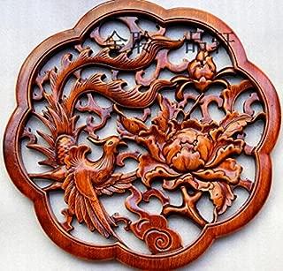 Chinese Art Phoenix opera Peony hanging piece Wall Decoration 28CM