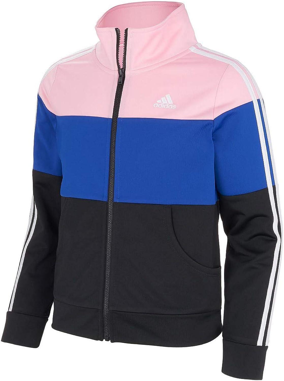 Adidas Girl's (Little Kids) Tricot Color Block Full-Zip Jacket US Black/Blue/Pink, Medium (10/12)