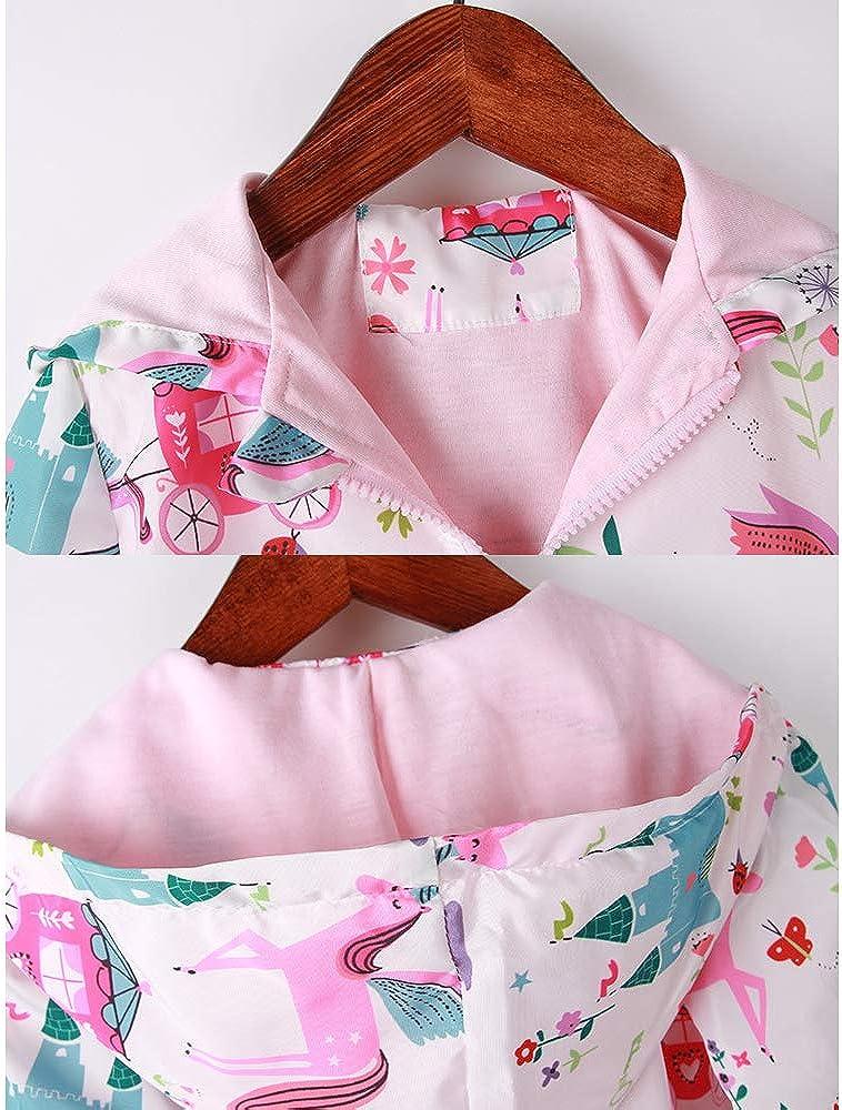Girls Cartoon Unicorn Jackets Spring Zip Kids Hooded Flamingo Windbreaker for Toddler Pink Light Outwear