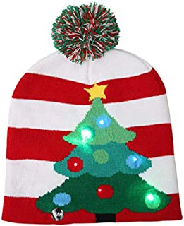 Asodomo LED Light up Hat Knitted Ugly Sweater Holiday Xmas Christmas Beanies Colorful Lights Flashing Hat Knit Cap