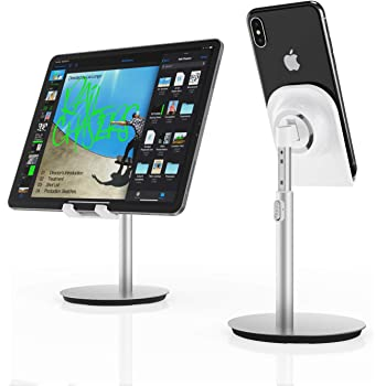 Cell Phone Stand Up to 10.5 Tablet MiiKARE Universal Phone Holder Multi-Angle Adjustable Aluminium Desktop Tablet Stand Dock Cradle Compatible with iPhone Xs XR 8Plus Galaxy S10 S9 S8 E-Reader