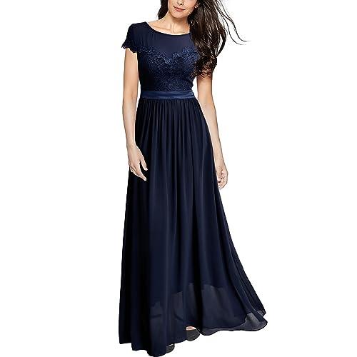 226422355ba25 Miusol Damen Elegant Spitzenkleider Hochzeit Brautjungfer Chiffon  Abendkleider