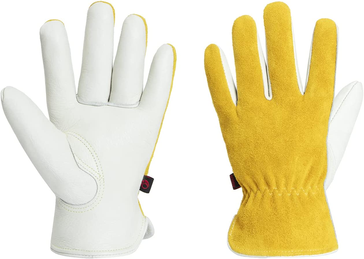 AOUCHI 2 Max 41% OFF PCS Work Gloves OFFicial store Cowhide for Leather Garden Drivi Riding