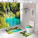 Duschvorhang Grünblauer Dschungelfluss,Bad 4-teiliges Set, rutschfest, Digitaldruck, mit 12 Haken für Badezimmer einschließlich Badematte, Sockelmatte & Toilettenmatte