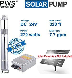 PWS 24V Stainless Steel 316 Solar Water Pumps, Solar Bore Well Pumps, JS3-1.8-100