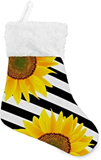 SLHFPX Sunflowers Stripes Christmas Stockings Holder Great Xmas Holiday Party Decor Gift Accessory Set of 6 8 x 5.5 inch