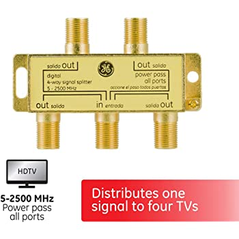 GE Digital 4-Way Coaxial Cable Splitter, 2.5 GHz 5-2500 MHz, RG6 Compatible, Works with HD TV, Satellite, High Speed Internet, Amplifier, Antenna, Gold Plated Connectors, Corrosion Resistant, 33527