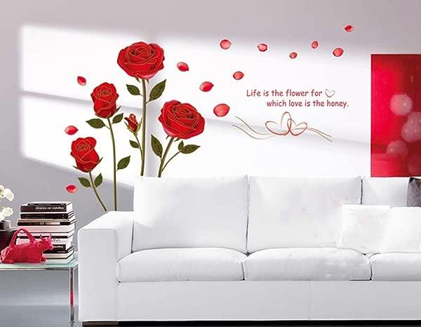 Ufengke 红玫瑰可移除墙贴壁画客厅卧室玫瑰 1 号