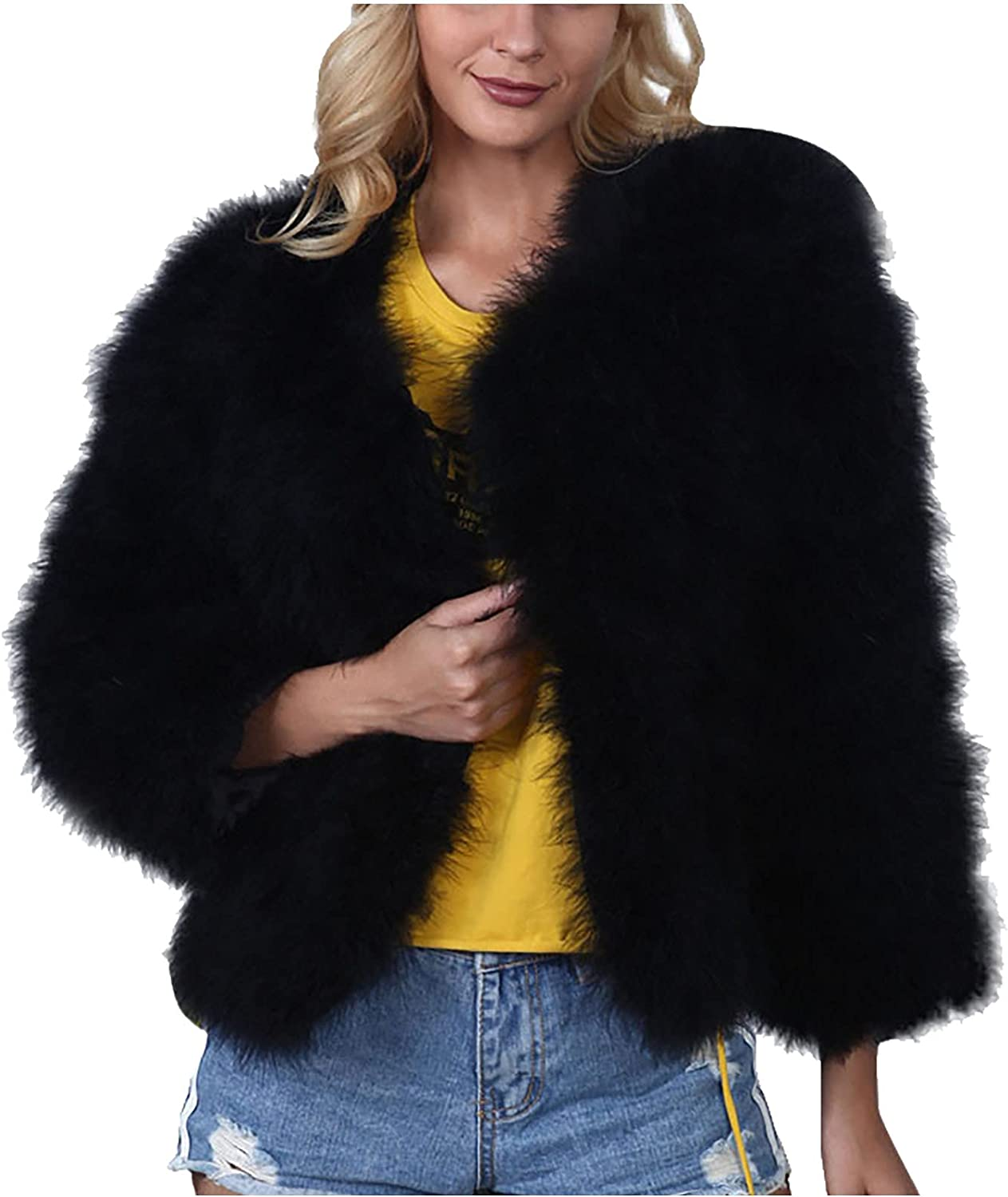Kanzd Faux Fur Jackets Coats for Women Fashion Long Sleeve Open Front Solid Warm Faux Coat Jacket Turn Down Collar Outerwear