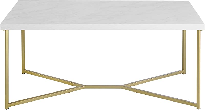 WE Furniture Short Rectangular Coffee Table Faux White Marble Top Gold Base