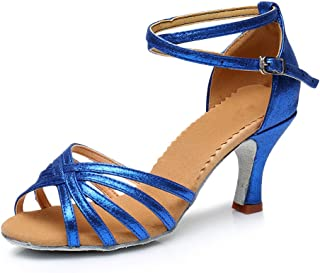 73b183ae VESI-Zapatos de Baile Latino de Tacón Alto/Medio para Mujer Azul 41(