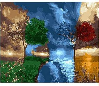 WFYY DIY Ölfarbe Durch Anzahl Kit Vier Jahreszeit-Baumfarbe Herrlich Leinwand Wandkunst Foto Puzzle Spiel Spielzeug Geschenke Für Kinder 16X20 Inch Holzrahmen B07PS9D6J8  Günstiger
