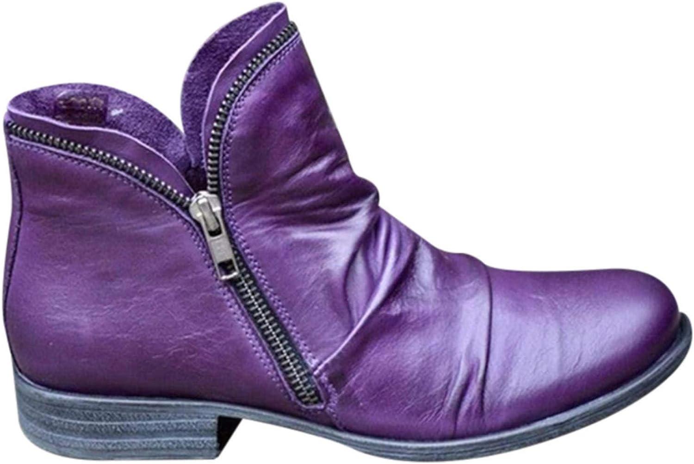 tacco spesso rotondo con doppia cerniera stivali da donna casual con punta rotonda tacco basso Stivaletti da donna Abimy