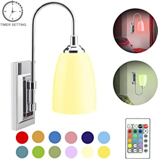 LUXSWAY LED Wall Sconce Light with Swing Arm,Wireless Wall Lamp Battery Operated, Remote Control Color Changing Beside UP/Down Light,Dimmable Sconce Light for Home Decro Bedroom Hallway Mirror